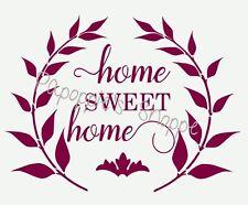 Home Sweet Home Stencil in Script Font Laurel Leaf Signs Pillows Canvas Diy