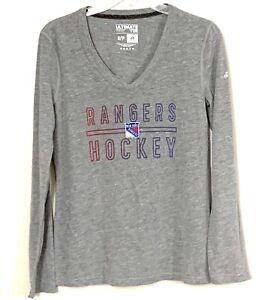 Size Small NHL New York Rangers Hockey Shirt Womens Adidas Gray L/S MSRP $38 NEW