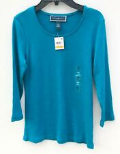 NEW Women's Karen Scott Petite Scoop-Neck 34-Sleeve Top Teal Size PS