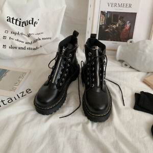 Womens Ladies Zip Creepers Chunky Cleated Platform Goth Punk Ankle Boots Shoes