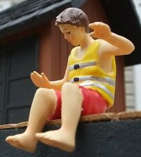 Gent w Life Vest Figurine Miniature 1/24 Scale G Scale Diorama Accessory Item