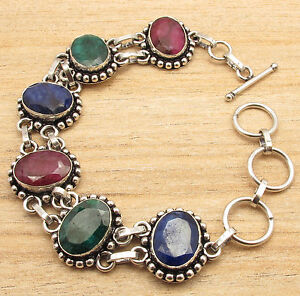 Promotion Simulated RUBY EMERALD SAPPHIRE Bracelet 21.3 cm ! 925 Silver Plated