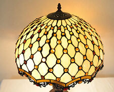 "18""W Zinc Base Diamond & Jewels Stained Glass Handcrafted Jeweled Table Lamp"