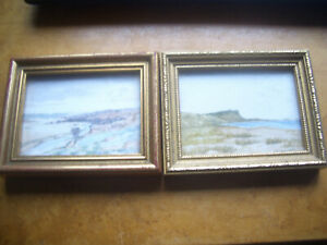 ORIGIAL PAIR OF MINI WATERCOLOURS SIGNED GEORGE W.MILLE SUFFOLK LANDSCAPES