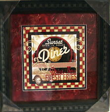 """Nwt Sunset Diner Sign, Framed & Matted with Glass 17.25"""" Sq"""