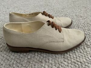 ROBERT CLERGERIE Women's Cream Leather Lace Up Brogue Size 6 EUC