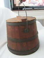 19TH C SHAKER MAPLE SYRUP BALE BUCKET PAIL WOOD STAVE LID COUNTRY PRIMITIVE SUGA