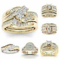 Luxury Women Ladies 18K Gold White Sapphire Rings Wedding New Jewelry Size 6-10