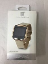 Platinum - Leather Band Stainless Steel and Leather Watch Strap for Fitbit Blaze