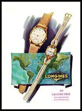 PUBBLICITA' 1951 LONGINES OROLOGI WATCH 10 GRANDS PRIX ESPOSIZIONE UNIVERSALE