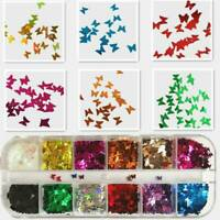 12 Grid Butterfly Shape Nail Flakes 3D Laser Glitter Sequin Nail Art Decoration.