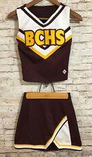 """Cdt Varsity Cheerleader Uniform Bchs Burgundy & Gold Skirt Waist 24"""" / Top Xs"""
