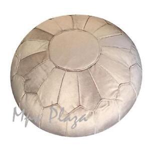 MPW Plaza Velvet Pouf, Beige, Moroccan Ottoman (Stuffed)