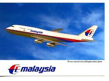 Malaysia Airlines-B747 Airplane in Flight-Aviation-Modern Advertising Postcard
