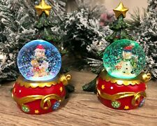 Colour Changing LED Snowman Snow Globe with Christmas Tree