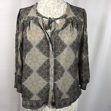 Joie Women's Blouse Silk Top Hartford Stingray Large 3/4 Sleeves Paisley