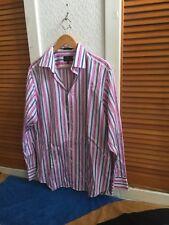 SIMON CARTER MENS SLIM FIT  Red Blue & White Stripes SHIRT Used Size 16.5/42cm