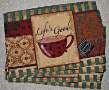 SET 4 LIFE'S GOOD TAPESTRY PLACEMATS COFFEE/CAFE THEME/BROWNS/TANS BURGUNDY/NWT