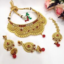 INDIAN Sposa Gioielli mukut Collana Set Bollywood asiatica etnica Wear