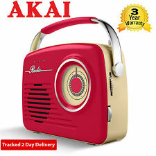 Akai A60014R AM/FM o conectado a la Red Eléctrica Radio Portátil Inalámbrico Rojo Retro