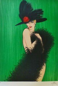 "RENE GRUAU ""Femme au chapeau"" HAND SIGNED Lithograph Dior Givenchy illustrator"