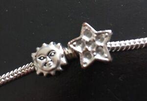2 CHARMS SUN / MOON FACE STAR Slider For European Bracelet ASTRONOMY sign