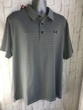 Mens Under Armour Cooling Gray W Black Stripes Polo Shirt Xxl New Msrp $65