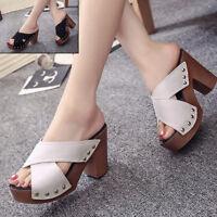 Women Fashion Platform Sandal Summer High Heels Shoes Wedge Heel Peep Toe Size