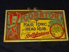 Vintage original tin sign Vigorator Hair Tonic & Head Rub very early 1900's