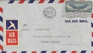 1940, Miami Beach, FL to Istanbul, Turkey, Airmail, See Remark (39672)