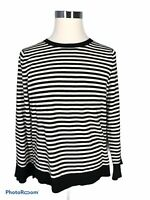 Talbots Women's New Sweater XL Extra Large Striped Black White  Long Sleeve