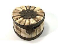 VINTAGE TRINKET BOX FINE HAND CARVED FLORAL CAMEL BONE & BRASS JEWELRY STORAGE