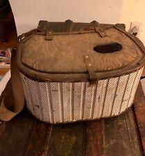 Vintage Antique Fishermans Trout Fly Fishing Creel Metal Wood & Leather Basket