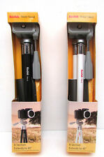 """2 Kodak Tripods 8 Section Extends to 41"""" - (Black Tr410 and White Tr412) Nib"""
