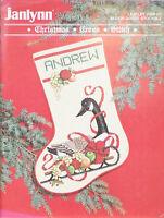 Janlynn Cross Stitch Pattern Christmas Sleigh Goose Stocking Vintage 1988 900-07