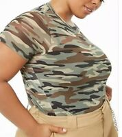 Forever 21 + Plus Sheer Mesh Camouflage Camo Print Tee T-shirt Plus Size 2X NEW