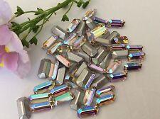 10 Rhinestone vintage Preciosa Octagon Crystal AB foiled 10x5mm CRAFT Post Free