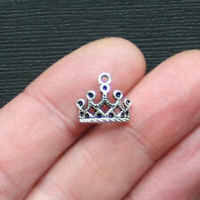 10 Crown Charms Antique Silver Tone Arched Design - SC2882