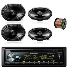 """Pioneer 6x8"""" 250W Coaxial Speakers,50FT Speaker Wire, Pioneer Bluetooth CD Radio"""