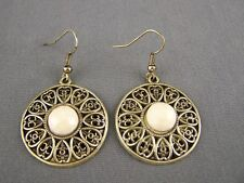 """Cream round medallion earrings faceted gem flower dangle 1 7/8"""" long bronze gold"""