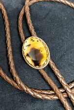 BOLO TIE vintage banded Agate stone goldtone brown Western string style bola