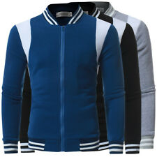 Casual Mens Baseball Varsity Patchwork Jacket Sweater Top Coat Warm Sports Tops