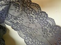 "Premium Quality 7""/17cm Charcoal Grey Stretch Flat Lace Trim. Sewing/Lingerie"
