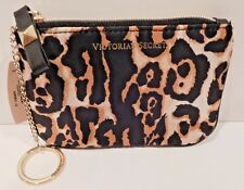 2 VICTORIA'S SECRET LEOPARD SATIN MAKEUP BAG COIN PURSE WITH CHAIN NEW!