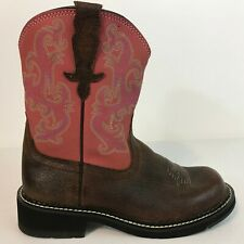 Ariat Fatbaby Ostrich-Look Leather Ankle Boots Size 7.5 (B) 10000830 Pink Suede