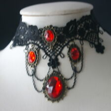 "Nice Fashion Jewelry Red & Black  Necklace 24 Gr. 7"".5 Inches Long + Extention"