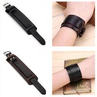 Unisex Punk Genuine Leather Belt Wristband Bracelet Wide Adjustable Bangle Cuff