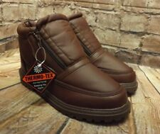 Men's Thermo-Tex Brown Double Zip Fastening Low Heel Ankle Boots UK 7