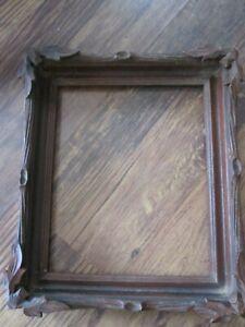 """Antique Walnut Victorian Black Forest Adirondack Carved Oak Leaf Frame 14"""" x 12"""""""