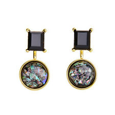 Black Onyx and Opal Imitation Ear Jacket Convertible Jacket Earrings New Design